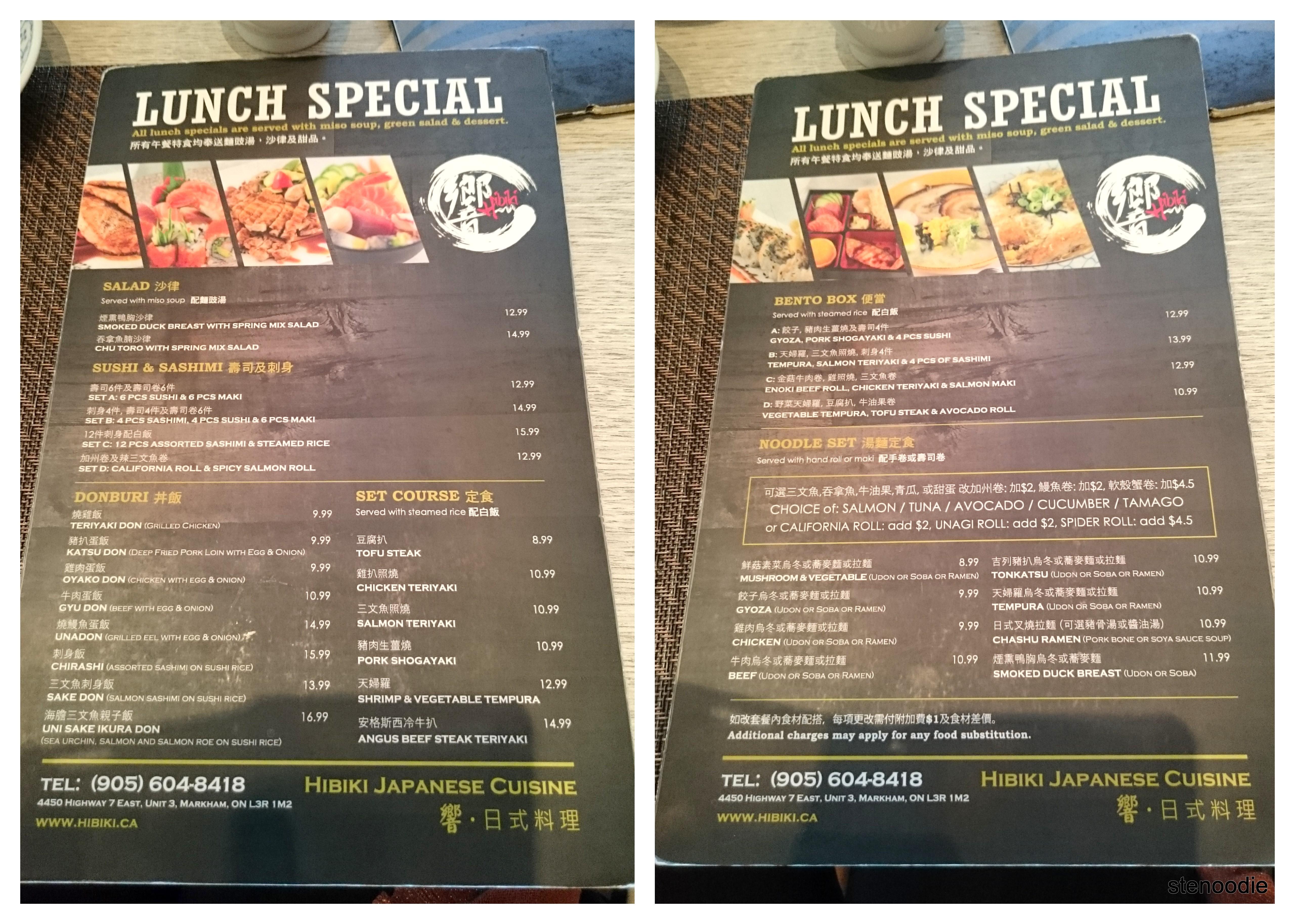 Hibiki Japanese Cuisine Lunch Special menu