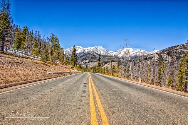 Trail Ridge Road leading into Estes Park, Colorado. Elevation 9,208 Feet