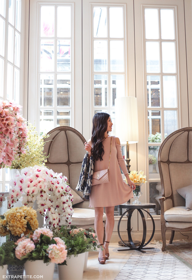 blush pink swing dress spring outfit pottinger hong kong hotel
