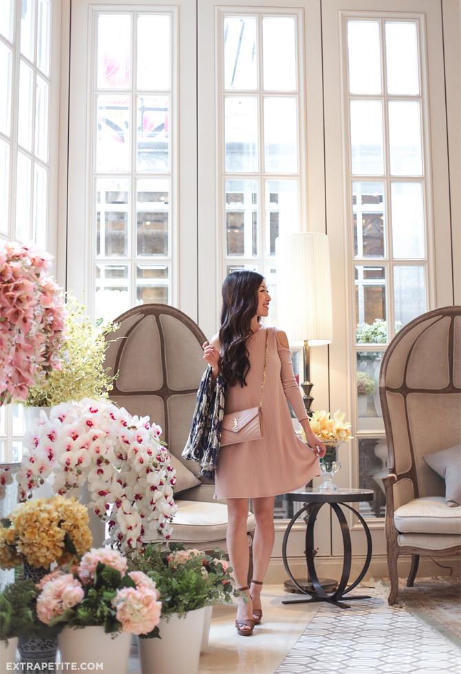 blush pink swing dress spring outfit pottinger hong kong hotel
