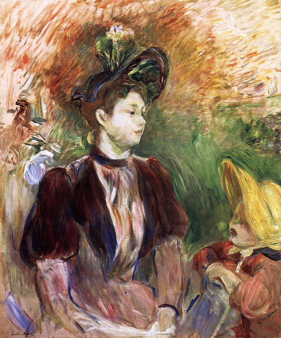 Young Woman and Child, Avenue du Bois by Berthe Morisot, 1894