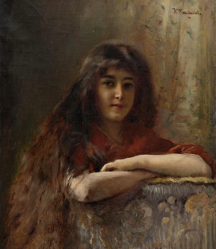Konstantin Makovsky - Portrait of a Young Girl