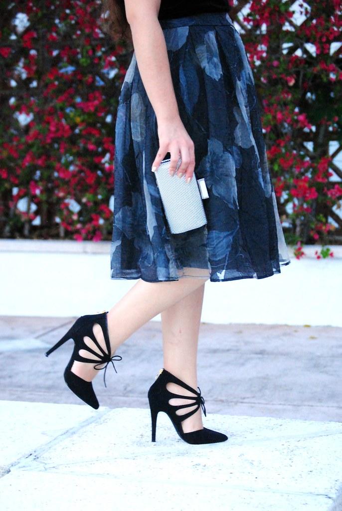 ASTR skirt, Jessica McClintock clutch, JustFab heels