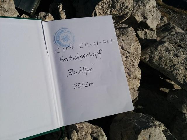 Gipfelbuch Hochalpenkopf, auch Zwölfer genannt