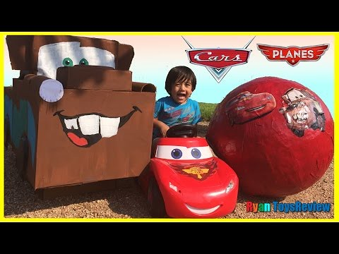 Watch Disney Cars Toys GIANT EGG SURPRISE OPENING Lightning McQueen Tow Mater Kids Video Ryan ToysReview