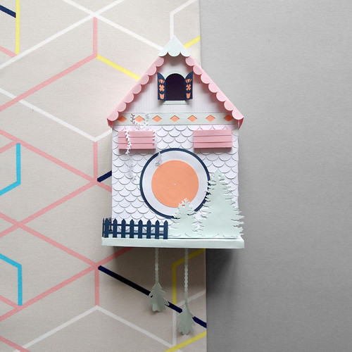 handmade 3D paper cuckoo clock