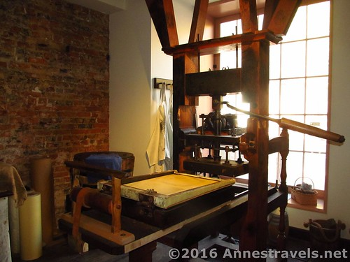 The printing press at Franklin Court in Independence National Historic Park, Philadelphia, Pennsylvania
