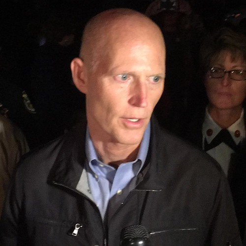 Florida Governor Rick Scott discuss his recent tornadoes with media in Deep Creek neighborhood of Port Charlotte.