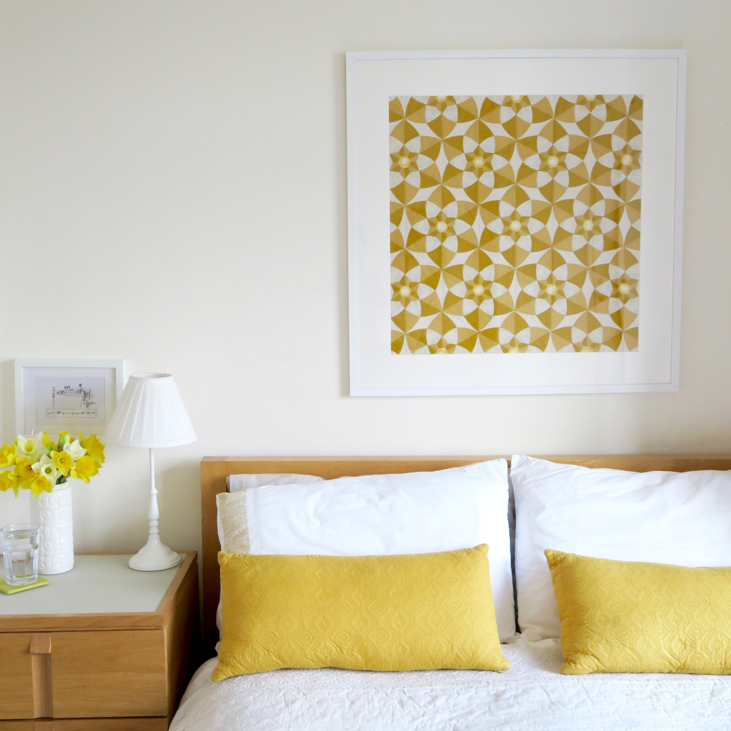 English paper piecing wallhanging in yellow