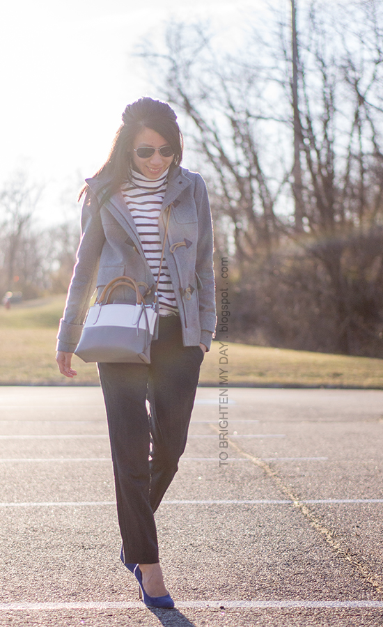 gray toggle coat, striped turtleneck, gray wool pants, colorblocked crossbody bag, blue suede pumps
