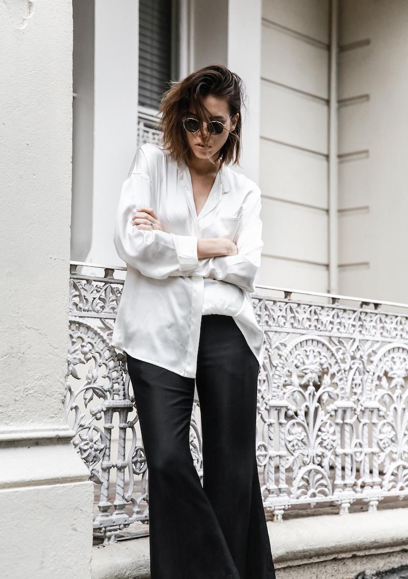 monochrome minimal street style inspo fashion blogger Haider Ackermann silk shirt flare pant mansur gavriel bag black white modern legacy outfit (1 of 6)
