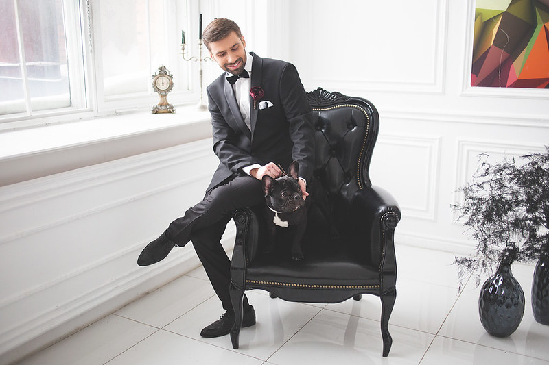 Groom style for Black and white wedding dress for A Magic Black Wedding Inspiration Shoot | Photo by Anastasia Marchenko of Your Personal Photographer | Read more on Fab Mood - UK wedding blog #blackwedding #weddingideas