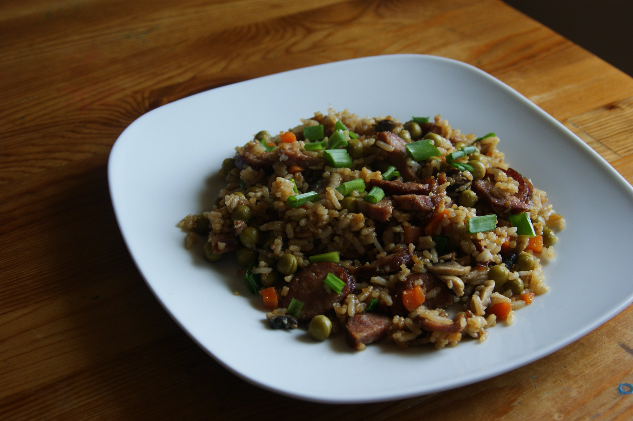 fried rice with homemade  kiełbasa
