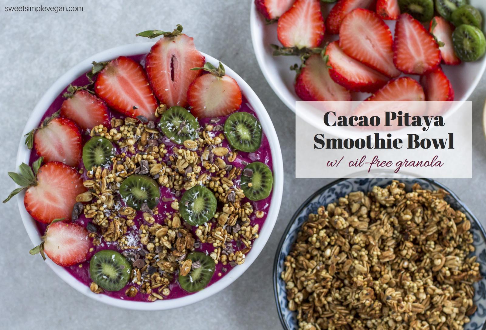 Cacao Pitaya Protein Smoothie Bowl w/ Oil-Free Granola | sweetsimplevegan.com