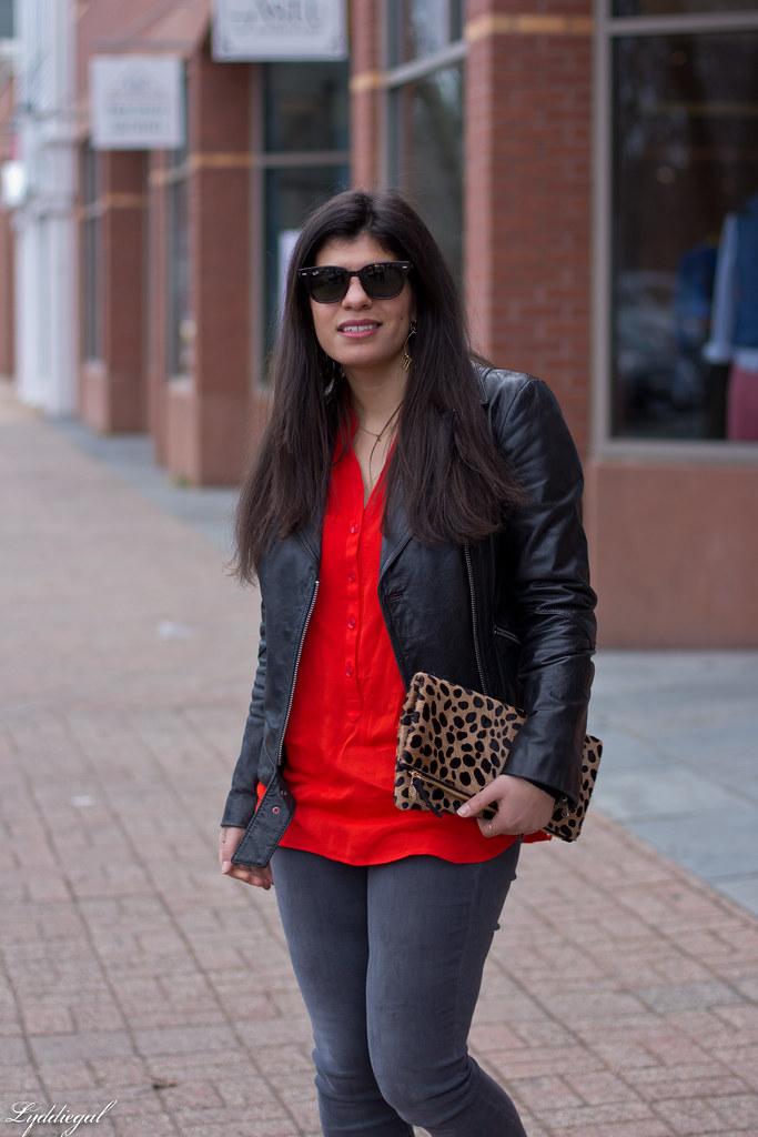 grey jeans, red blouse, black leather jacket, leopard clutch-5.jpg