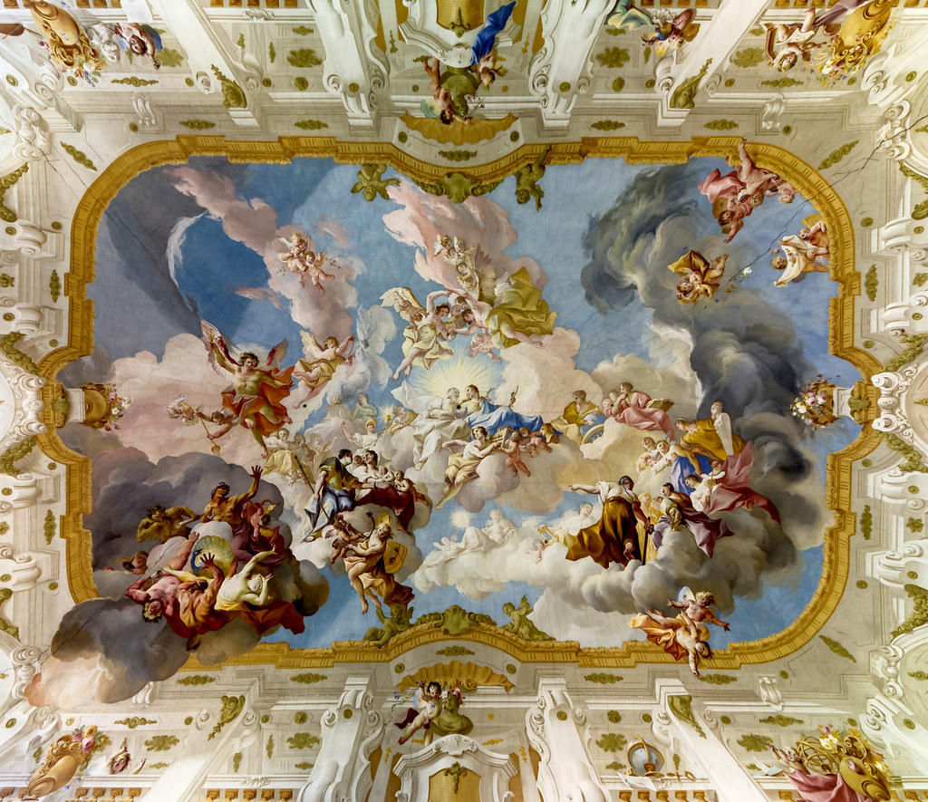 Ceiling fresco of the Marble Hall at Seitenstetten Abbey (Lower Austria) by Paul Troger (1735) The Harmony between Religion and Science. Credit Uoaei1