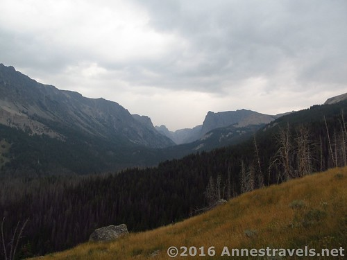 Not long after entering the meadows, you can see up Wind River canyons, hiking up White Rock, Wind River Range, Wyoming