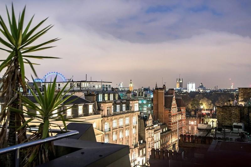 Вид на Букингемский дворец Лондона с террасы пентхауса