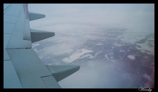Laponia viaje Helsinki Rovaniemi - Nieve desde el avión