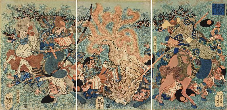 Utagawa Kuniyoshi - The Nine-tailed Fox slain on Nasu moor, Shimotsuke, 1834