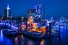 Harbour festival in Hamburg with blue illumination