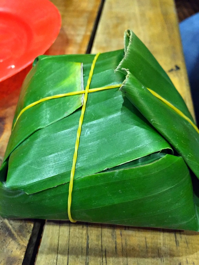 Pork steamed in a banana leaf
