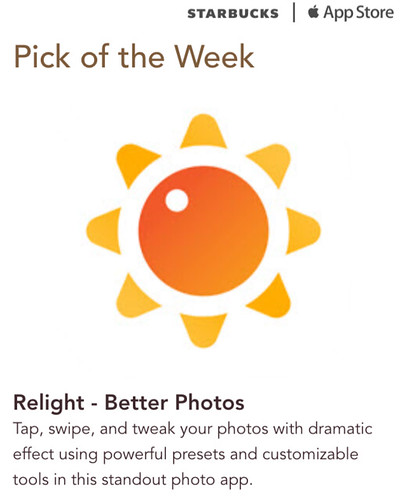 Starbucks iTunes Pick of the Week - Relight - Better Photos