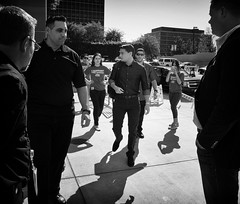 Ben Shapiro enters through the back with Security. There were about 30 police inside to provide security, all equipped for any contingency.