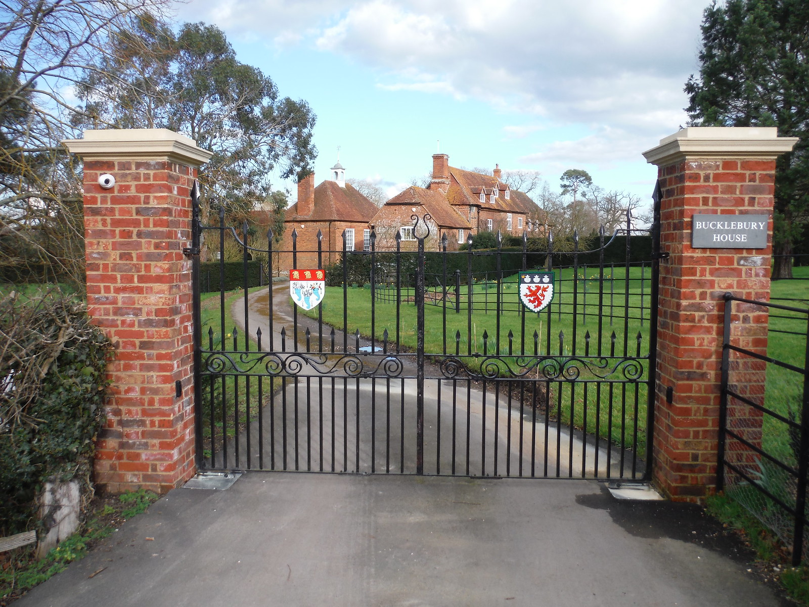 Gate to Bucklebury House SWC Walk 117 Aldermaston to Woolhampton (via Stanford Dingley)