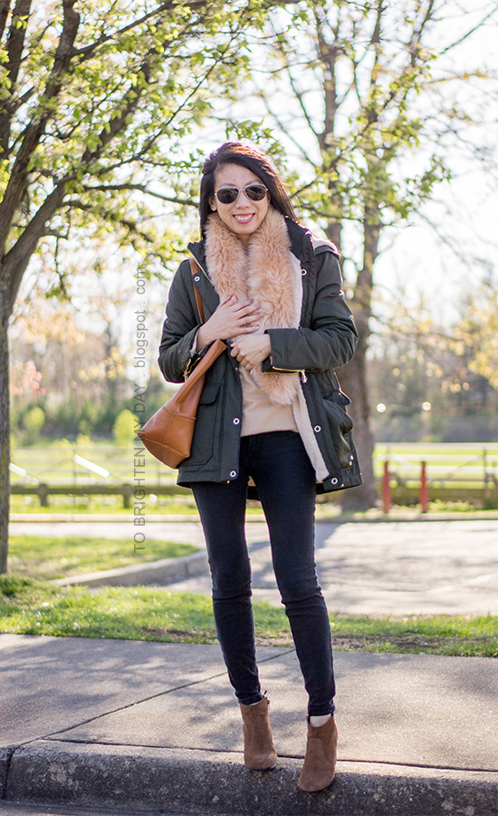 faux fur scarf, military green parka, camel sweater tunic, black jeans, brown suede ankle boots