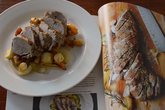 Cumin spiced pork tenderloin with root vegetables