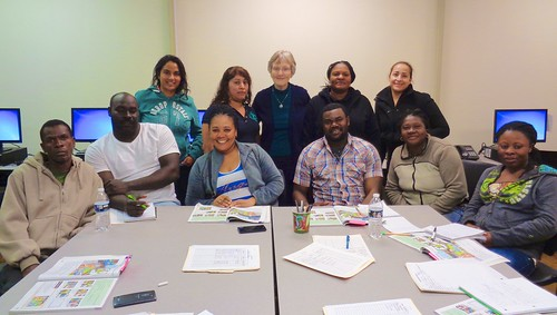Teresa and Brigid also teach English to non-english speaking people through the ESL Programme (English as a Second Language). Teresa is pictured above with one of her classes in Ahoksie, North Carolina