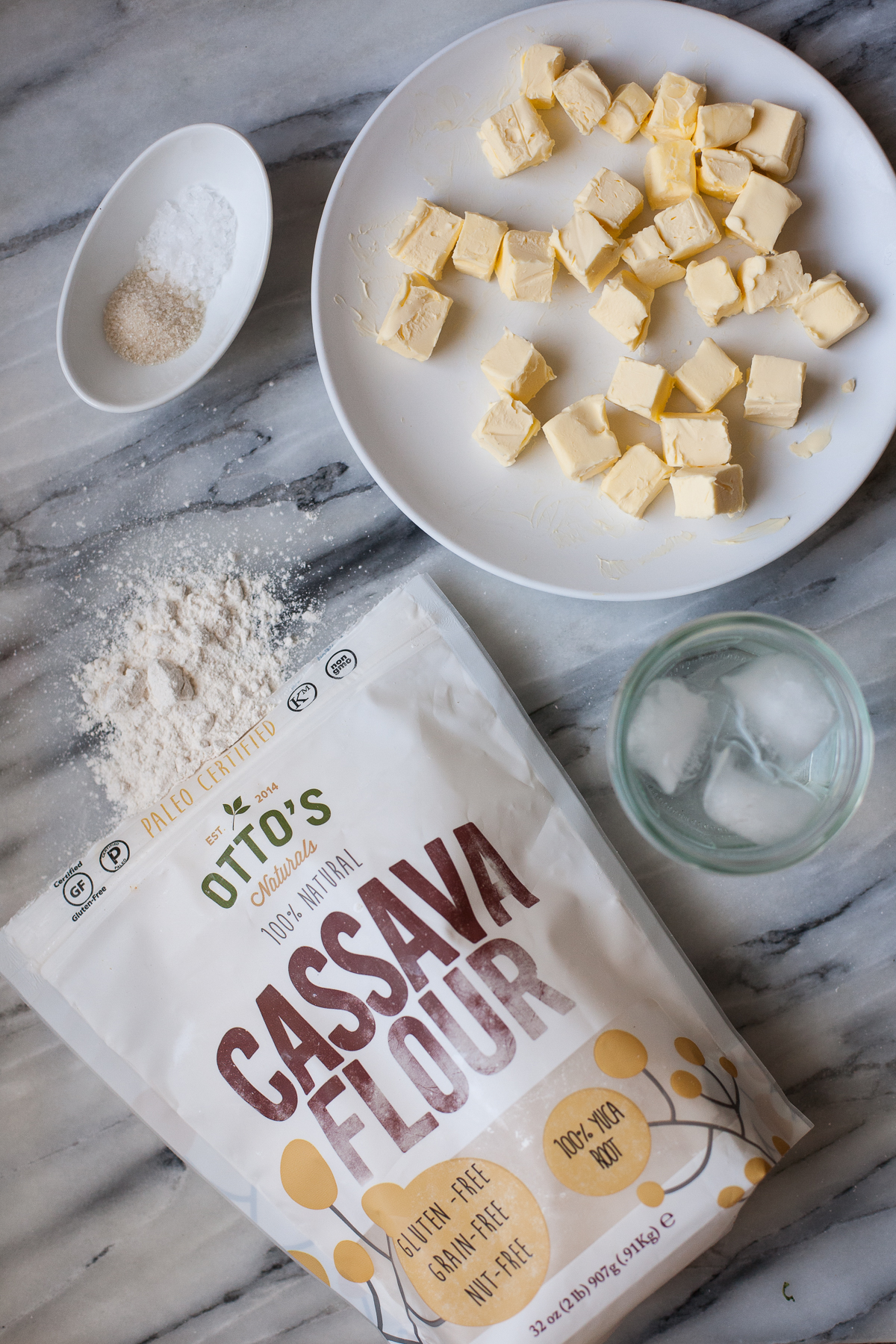Ingredients for cassava flour pie crust