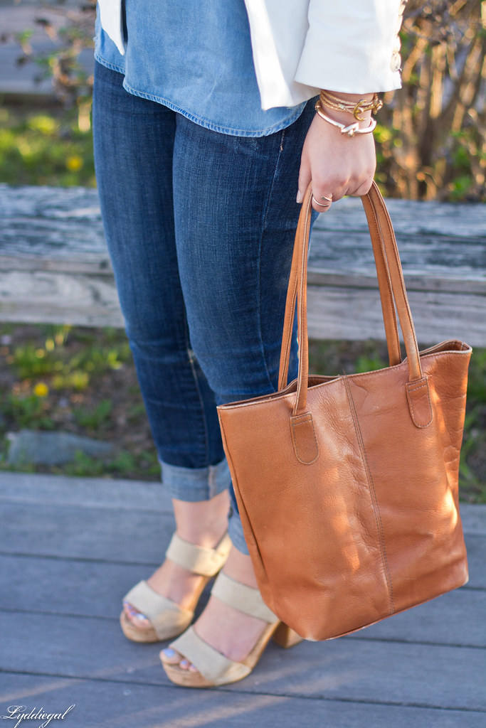 white blazer, chambray shirt, jeans, brown leather tote-3.jpg