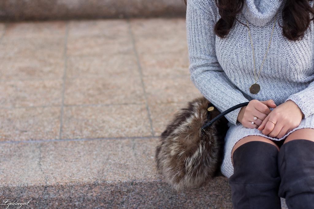 grey sweater dress, over the knee boots, fur bag-7.jpg