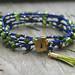 Blue and Green Crocheted Boho Bracelet Wrap.