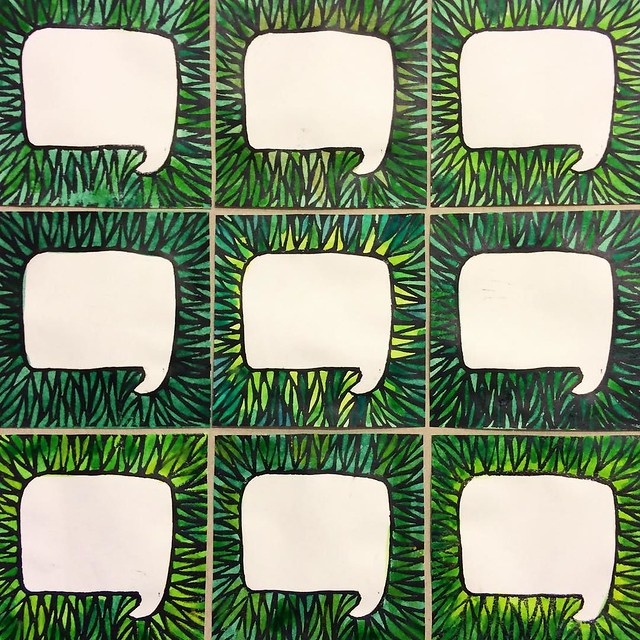 """Today's #patternjanuary is a #tbt. Immediately when I saw the theme #favorite, I thought of this #handcarvedstamp from 2011, based on my grass-quote """"you are my favorite"""" painting series. I assembled these prints into a pattern and voila! The black is the"""