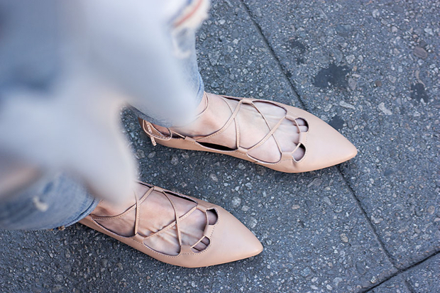 Nude Lace Up Flats, Gap Lace Up Flats