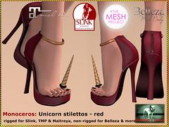 Bliensen - Monoceros - Unicorn stilettos - red Kopie