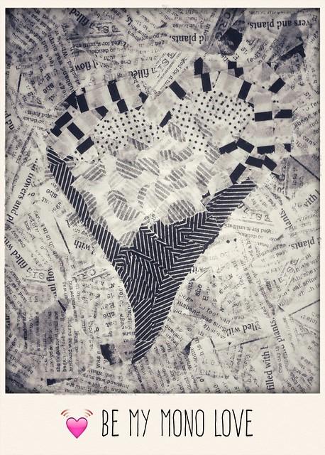 heart shape in masking tape in monochrome