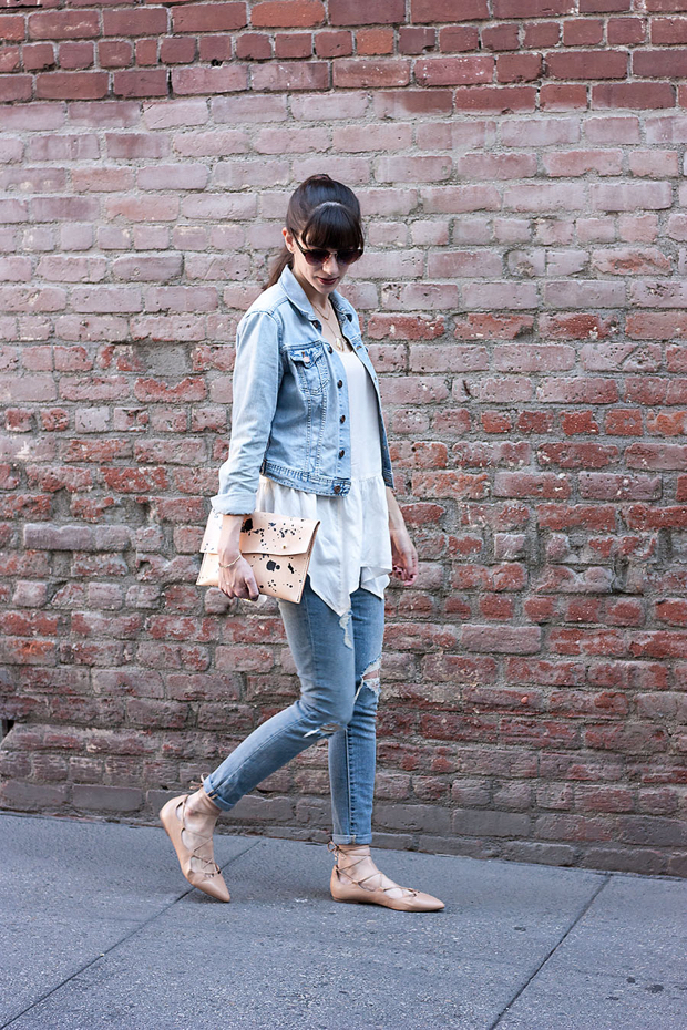 Denim on Denim, Ruffle Tank, Lace Up Flats