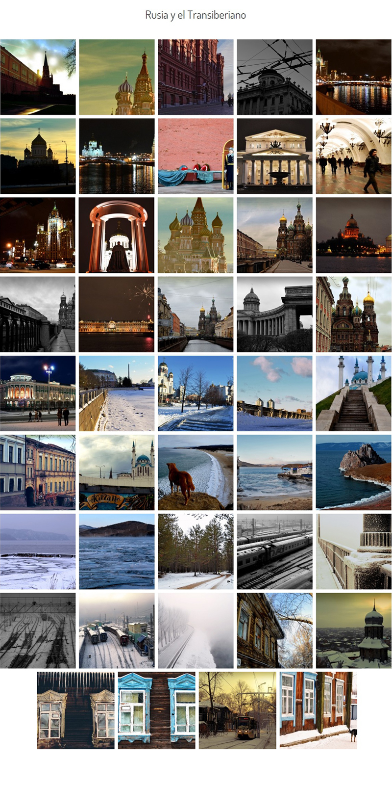 Galería de fotos de Rusia y el Transiberiano