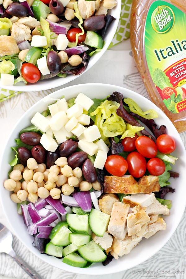 Chopped Italian Dinner Salad is a one bowl meal that's perfectly balanced, stocked full of protein and bursting with flavor! AD