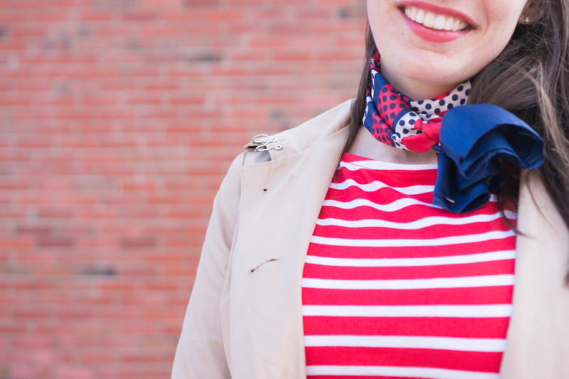 stripe shirt + navy skirt + navy tights + silk neck scarf + trench coat