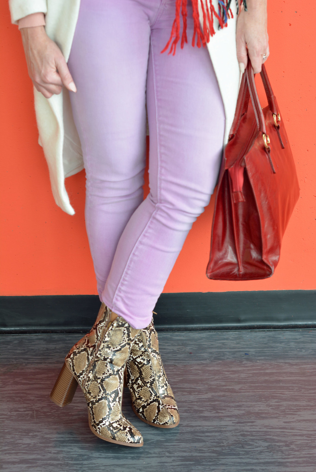 Winter brights of red, lilac and white with snakeskin boots| Not Dressed As Lamb