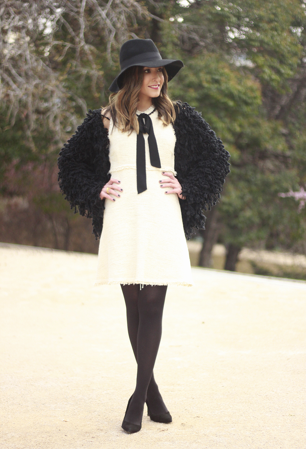 White tweed dress with bow black jacket hat outfit16