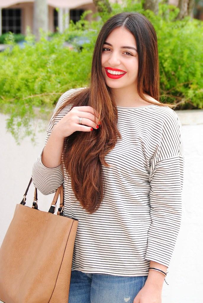 straight brunette balayage, red lips