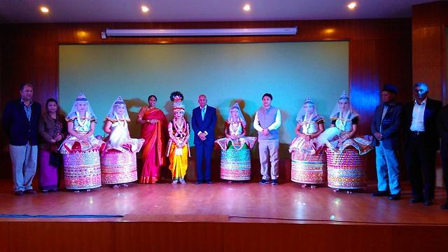 14. Ranjit Barthakur, S. Ramadorai, Mala Ramadorai and Srinivashan with Manipuri cultural team at Imphal on 110216