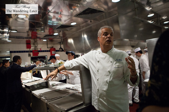 Chef Eric Ripert informing us of the various parts of the kitchen