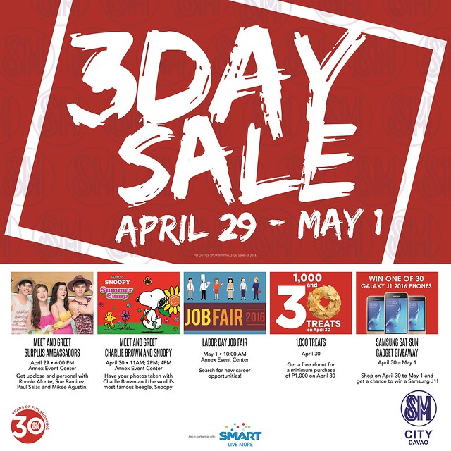 3 Day Sale April 2016 events (Jobs Fair, Meet & Greet, Snoopy Charlie Brown) SM City Davao poster at DavaoLife.com